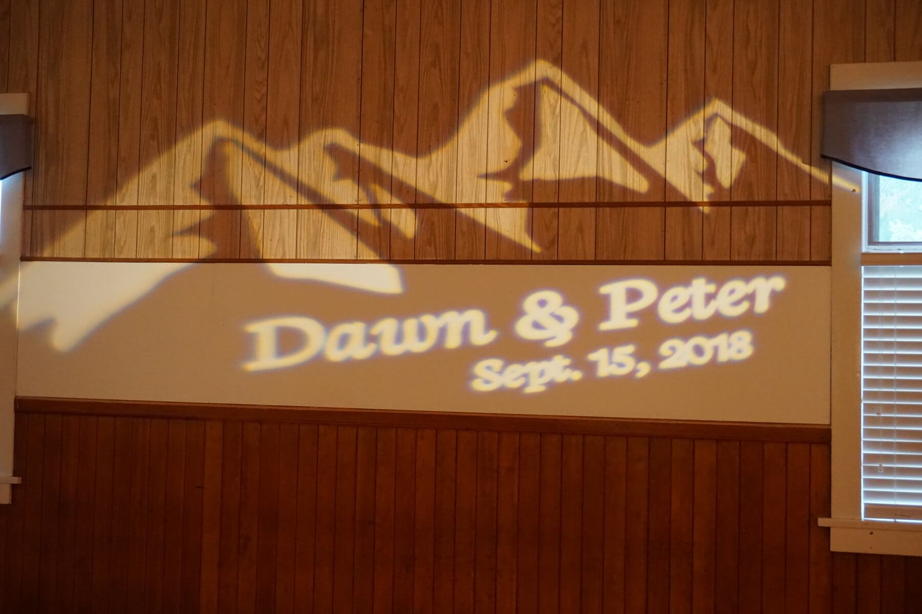 Dawn and Peter's wedding gobo