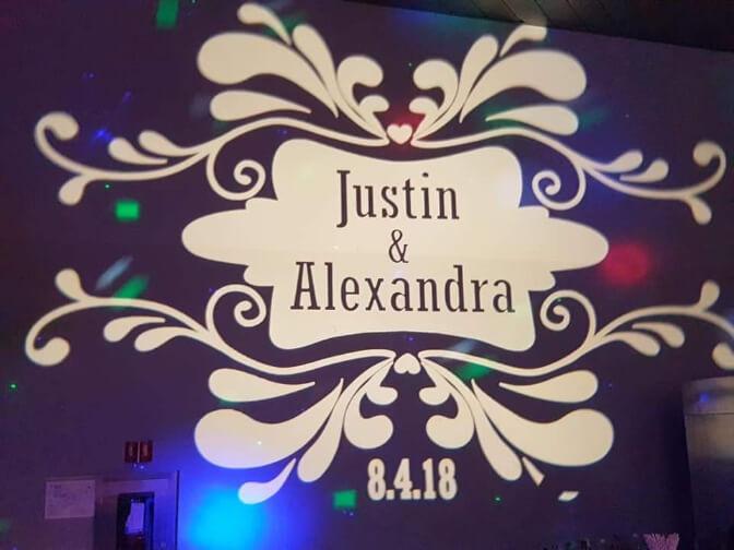 Justin and Alexandra's wedding gobo design