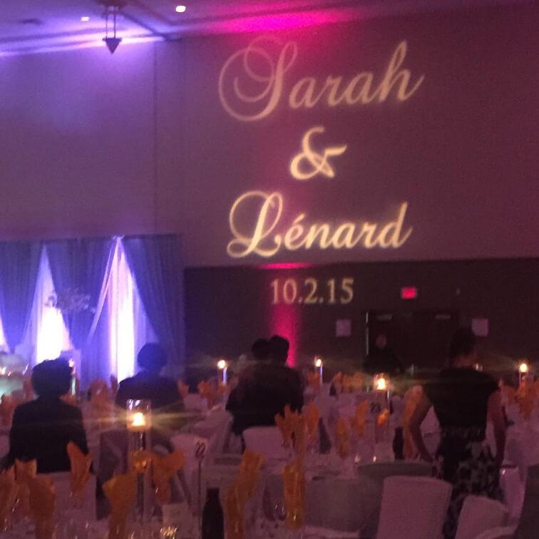 Sarah and Lenard's custom wedding gobo design